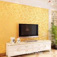 3D 壁紙 53×1000㎝ モダン ローズ 薔薇 DIY 不織布 カビ対策 防湿 防水 吸音 インテリア 寝室 リビング h02039