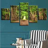 【お洒落な壁掛けアートパネル】 5点セット×30cm幅 緑の木の森 自然 景観 アニメ ファブリックパネル インテリア 飾り m05070