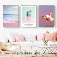 お洒落な壁掛けアートパネル3点セット(枠なし) / 各30×40cm ピンク フラミンゴ 海 写真 ポスター 絵画 インテリア m03263