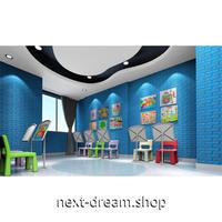ウォールステッカー 3D壁紙 77×70cm 超立体カラフルレンガ 水色 防水 家具リフォーム キッチン・お風呂・古いドアにも m02740