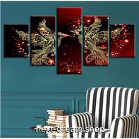 【お洒落な壁掛けアートパネル】 枠付き5点セット ロマンチック 火の鳥 芸術 ファブリックパネル インテリア m04603