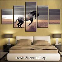 【お洒落な壁掛けアートパネル】 枠付き5点セット 海を駆ける馬 写真 ファブリックパネル インテリア m04540
