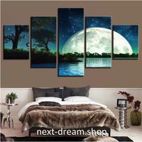 【お洒落な壁掛けアートパネル】 5点セット 大きな満月 自然風景 夜の景色 ファブリックパネル インテリア m04783