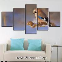 【お洒落な壁掛けアートパネル】 枠付き5点セット 動物 鳥 風景 絵画 CG ファブリックパネル インテリア m04615