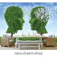 3D 壁紙 1ピース 1㎡ 造木 アート 人型 顔のシルエット 植物 緑 青空 寝室 客室 m03362