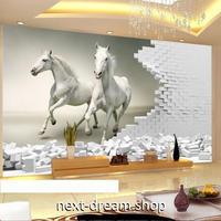 3D 壁紙 1ピース 1㎡ 絵画 躍動感 走る馬 ホワイトホース インテリア 装飾 寝室 リビング 耐水 防湿 h02594