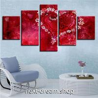 【お洒落な壁掛けアートパネル】 5点セット ハート 赤 ロマンチック 絵画 ファブリックパネル インテリア m04065