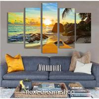 【お洒落な壁掛けアートパネル】 5点セット 朝の海 日の出 ヤシの木 自然風景 絵画 ファブリックパネル インテリア m04810