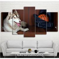 【お洒落な壁掛けアートパネル】 枠付き5点セット ハスキー バスケットボール ファブリックパネル インテリア m04606