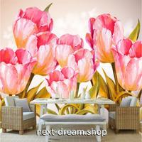 カスタム3D壁紙 1ピース 1㎡ ピンク チューリップ 春 おうち時間充実 おしゃれ キッチン 寝室 リビング m03505