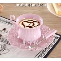 新品送料込  ティーカップ 180ml ソーサー スプーン ピンク  3点セット 磁器 コーヒー お茶会に  食器 高級装飾 贈り物  m00558