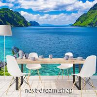 3D 壁紙 1ピース 1㎡ 自然風景 透き通った海 島 山 インテリア 装飾 寝室 リビング 耐水 防カビ h02377