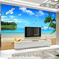 3D 壁紙 1ピース 1㎡ 自然風景 青い海 ビーチ かもめ インテリア 装飾 寝室 リビング 耐水 防カビ h02398