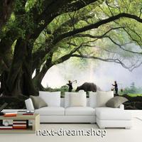 3D 壁紙 1ピース 1㎡ 自然風景 霧の森 大樹 アジアン インテリア 装飾 寝室 リビング 耐水 防カビ h02447