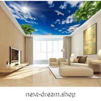 【カスタム3D壁紙】 1ピース 1m2 天井用 青空 白い雲 太陽 木 鴎 キャンバス地 クロス張替 m05371