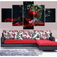 【お洒落な壁掛けアートパネル】 5点セット 赤いバラ 植物 自然景色 写真 絵画 ファブリックパネル インテリア m04058