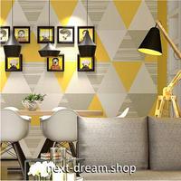 【3D壁紙】 53×10㎡ トライアングル模様 三角 黄色 高級クロス 部屋 リビング オフィス クロス ショップ DIY 防水 m03823