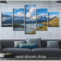 【お洒落な壁掛けアートパネル】 5点セット 自然風景 壮大な景色 湖 雪山 ファブリックパネル インテリア m04863