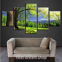 【お洒落な壁掛けアートパネル】 小さめサイズ5点セット 森林 緑 自然風景写真 ファブリックパネル DIY インテリア m04896