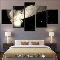 【お洒落な壁掛けアートパネル】 枠付き5点セット ふくろう 夜空 絵画 ファブリックパネル インテリア m04569
