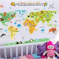 ウォールステッカー 世界地図 カラフル 動物 英語  お洒落シール DIY  キッチン 寝室 リビング トイレ 子供部屋  m01452