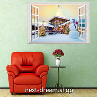 【ウォールステッカー】シール DIY 部屋装飾 寝室 リビング インテリア 72×48cm 壁窓デザイン 木の家 雪だるま m02221