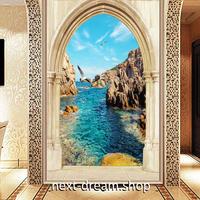 3D 壁紙 玄関用 1ピース 1㎡ 自然風景 ヨーロッパの海 岩 インテリア 装飾 部屋 耐水 防湿 耐衝撃 騒音吸収 h02764