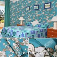 壁紙 45cm×1000cm 花柄 ブルー×ホワイト DIY リフォーム インテリア 子供部屋 寝室 防湿 防音 h03607
