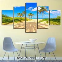 【お洒落な壁掛けアートパネル】 5点セット ヤシの木 ビーチ スカイブルー 青い海 ファブリックパネル インテリア m04823