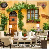 【カスタム3D壁紙】 1ピース 1m2 ヨーロッパ 外国 カフェ風 レストラン 植物 キャンバス地 クロス張替 m05384