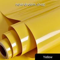壁紙 60×500cm 無地 光沢 イエロー 黄 DIY リフォーム インテリア 部屋・キッチン・家具にも 耐油 防湿 防音 h03658