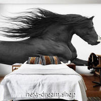 3D 壁紙 1ピース 1㎡ 動物フォト 躍動感 走る馬 モノクロ インテリア 装飾 寝室 リビング 耐水 防湿 h02612