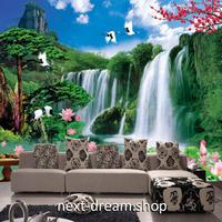 3D 壁紙 1ピース 1㎡ 自然風景 森林 山中の滝の景色 ハスの花 インテリア 装飾 寝室 リビング 耐水 防カビ h02394