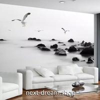 3D 壁紙 1ピース 1㎡ モノクロ 海岸の景色 かもめ インテリア 部屋 寝室 リビング 防湿 防音 h03002