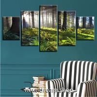 【お洒落な壁掛けアートパネル】 5点セット 自然風景 森林に差し込む陽の光 緑 ファブリックパネル インテリア m04867