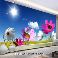 3D 壁紙 1ピース 1㎡ 自然風景 青い空と太陽 花と蝶々 コスモス インテリア 装飾 寝室 リビング 耐水 防カビ h02460