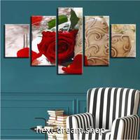 【お洒落な壁掛けアートパネル】 5点セット レッドローズ 薔薇 写真 ヴィンテージ 絵画 ファブリックパネル インテリア m04067