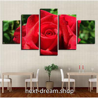 【お洒落な壁掛けアートパネル】 5点セット レッドローズ 薔薇 フラワー 絵画 ファブリックパネル インテリア m04095