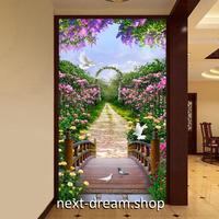 3D 壁紙 玄関用 1ピース 1㎡ 自然風景 フラワーガーデン 庭園 耐水 防湿 耐衝撃 騒音吸収 h02714