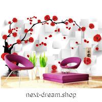 カスタム3D壁紙 1ピース 1㎡ 赤い薔薇 木の枝 白背景 キッチン 寝室 リビング クロス張替 リメイクシート m04525