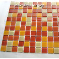 3D壁紙 30×30cm 11枚セット クリスタルガラス タイル オレンジ DIY リフォーム インテリア 部屋/浴室/トイレにも h04441