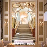 3D 壁紙 玄関用 1ピース 1㎡ ヨーロッパレトロ 天使 王宮階段 インテリア 装飾 部屋 耐水 防湿 耐衝撃 騒音吸収 h02755