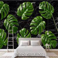 3D 壁紙 1ピース 1㎡ 北欧モダン モンステラ 黒背景 植物 緑 リビング 寝室 客室 m03352