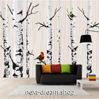 3D 壁紙 1ピース 1㎡ ハンドペイント鳥 白い木 冬の木 鳥 可愛い おしゃれ キッチン 寝室 客室 m03380