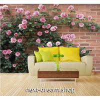 カスタム3D壁紙 1ピース 1㎡ レンガ背景 薔薇の垣根 自然 キッチン 寝室 リビング クロス張替 リメイクシート m04520
