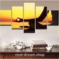 【お洒落な壁掛けアートパネル】 小さめサイズ5点セット ヨガ エネルギー 太陽 オレンジ ファブリックパネル DIY インテリア m04928
