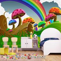 3D 壁紙 1ピース 1㎡ 子供部屋 虹 キノコ インテリア 装飾 寝室 リビング 耐水 防湿 h02576