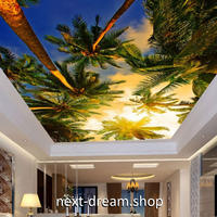 3D 壁紙 1ピース 1㎡ 自然風景 ヤシの木 ココナッツ 夕暮れ 天井用 インテリア 装飾 寝室 リビング 耐水 防湿 h02678