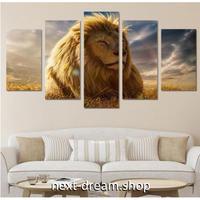 【お洒落な壁掛けアートパネル】 枠付き5点セット ライオン 動物 サバンナ ファブリックパネル インテリア m04575