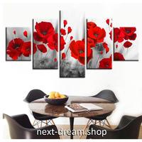 【お洒落な壁掛けアートパネル】 5点セット 赤い花 モノクロ フラワー 絵画 ファブリックパネル インテリア m04127